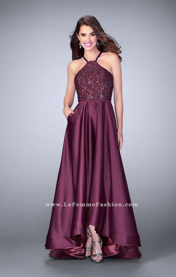 Picture of: High Low A-line Dress with Lace Top and Satin Skirt in Purple, Style: 24012, Detail Picture 1