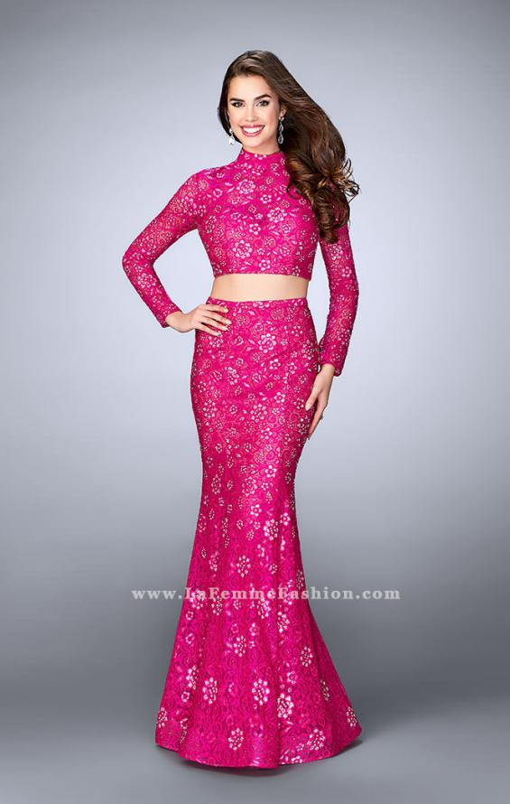 Picture of: Long Sleeve Two Piece Lace Dress with Open Back in Pink, Style: 24013, Main Picture