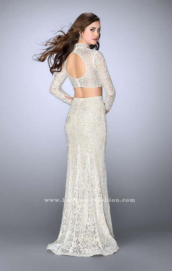 Picture of: Long Sleeve Two Piece Lace Dress with Open Back in White, Style: 24013, Back Picture