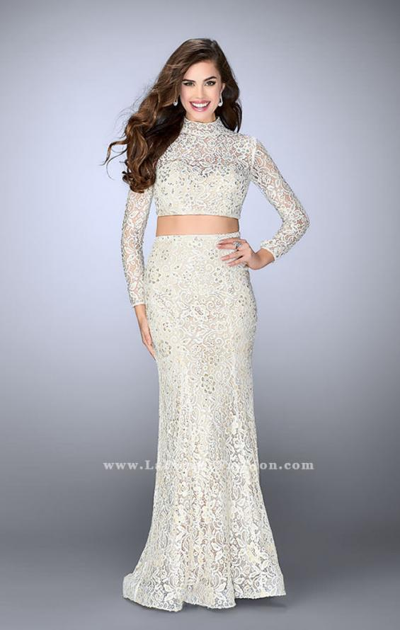 Picture of: Long Sleeve Two Piece Lace Dress with Open Back in White, Style: 24013, Detail Picture 1