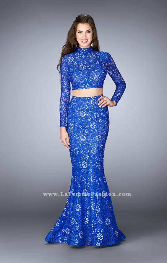 Picture of: Long Sleeve Two Piece Lace Dress with Open Back in Blue, Style: 24013, Detail Picture 2