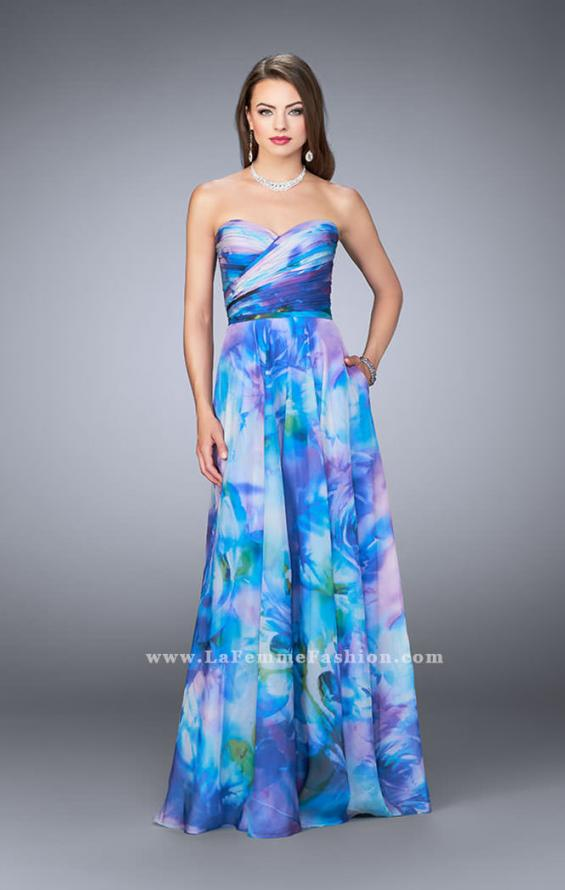Picture of: Strapless Chiffon Prom Dress Rose Print Fabric in Print, Style: 24021, Main Picture