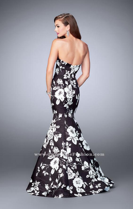 Picture of: Strapless Black and White Rose Print Prom Dress in Print, Style: 24023, Back Picture