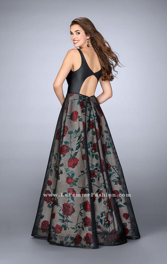 Picture of: Long A-line Rose Print Gown with Vegan Leather Top, Style: 24025, Back Picture