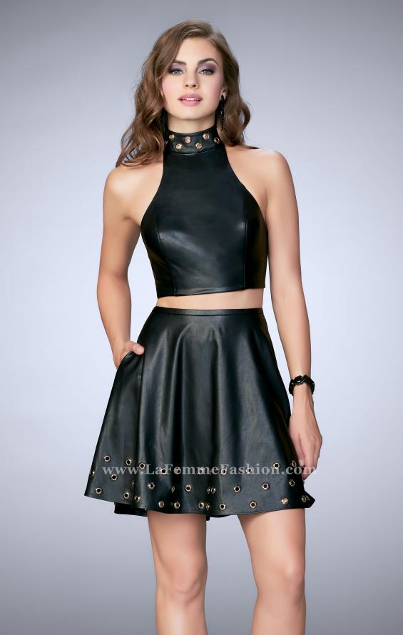 Picture of: Short Vegan Leather Two Piece with Gold Grommets, Style: 24026, Main Picture