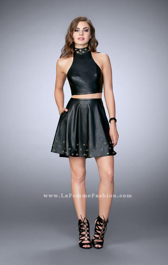 Picture of: Short Vegan Leather Two Piece with Gold Grommets, Style: 24026, Detail Picture 1