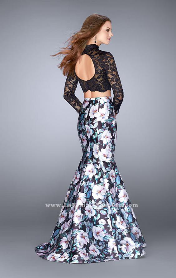 Picture of: Two Piece Mermaid Dress with Long Sleeve Lace Top in Print, Style: 24028, Back Picture