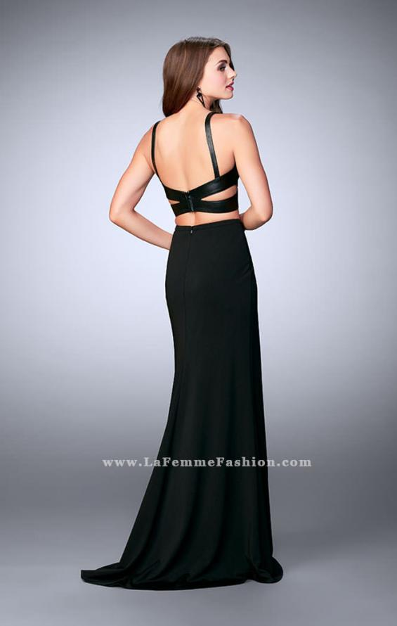 Picture of: Two Piece Dress with Vegan Leather Top and Cut Outs in Black, Style: 24036, Back Picture