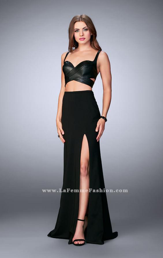 Picture of: Two Piece Dress with Vegan Leather Top and Cut Outs in Black, Style: 24036, Detail Picture 1