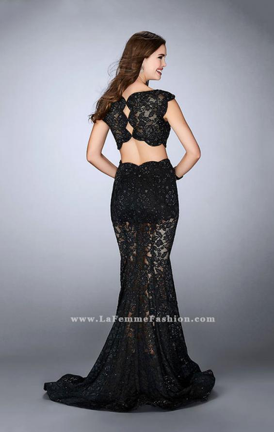 Picture of: Lace Two Piece Romper Dress with Sheer Lace Skirt, Style: 24038, Back Picture