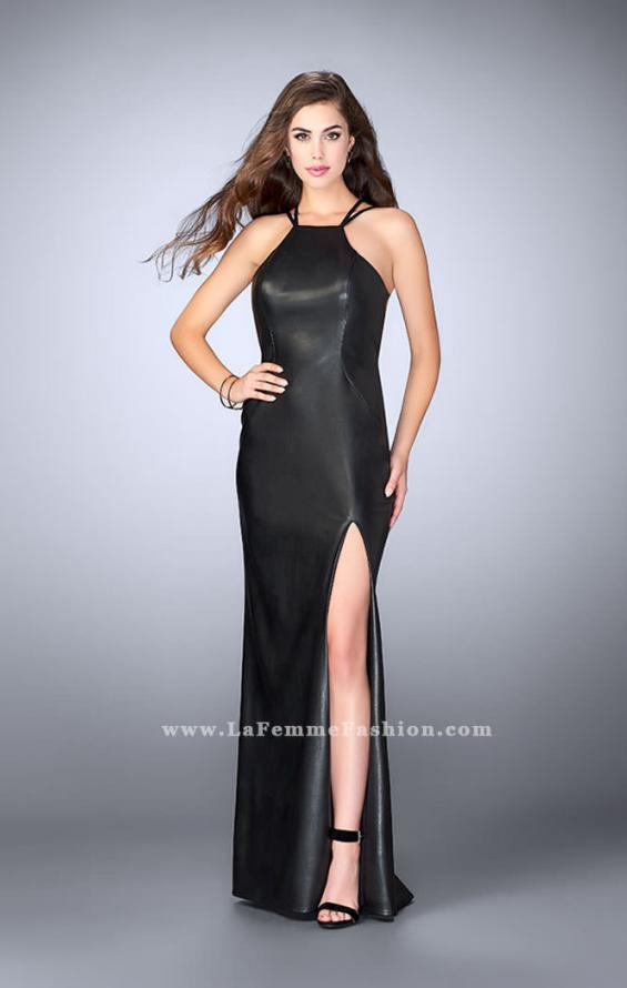 Picture of: High Neck Vegan Leather Dress with Strappy Back in Black, Style: 24041, Main Picture