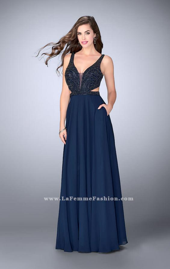Picture of: A-line Chiffon Dress with Beaded Top and Open Back, Style: 24050, Detail Picture 2