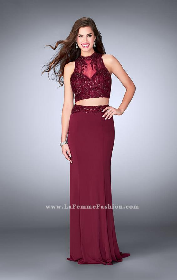 Picture of: Two Piece Prom Dress with an Illusion Neckline in Red, Style: 24051, Detail Picture 1
