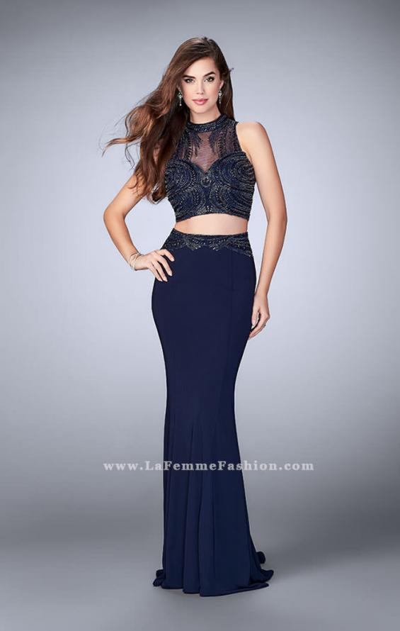 Picture of: Two Piece Prom Dress with an Illusion Neckline in Blue, Style: 24051, Detail Picture 2