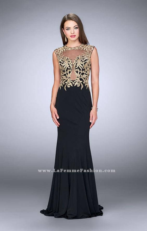 Picture of: High Neck Lace Dress with Sheer Illusion Neckline, Style: 24054, Detail Picture 1