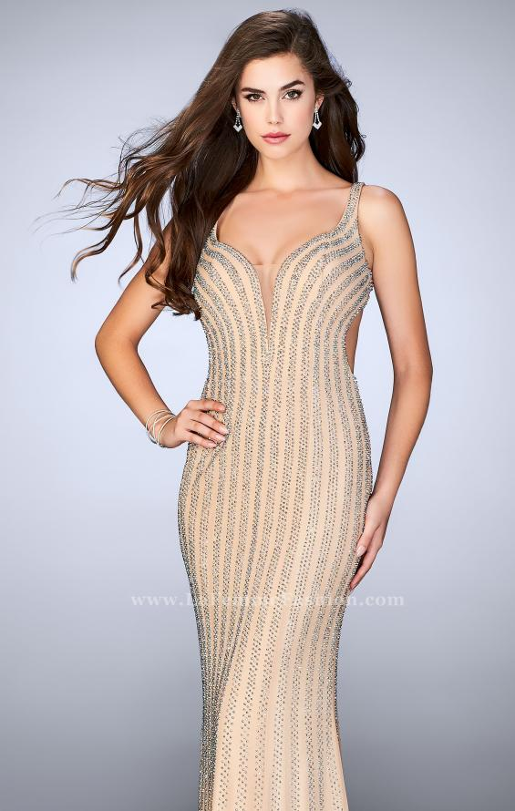 Picture of: Beaded Prom Dress With Deep V Neckline and Open Back, Style: 24057, Main Picture