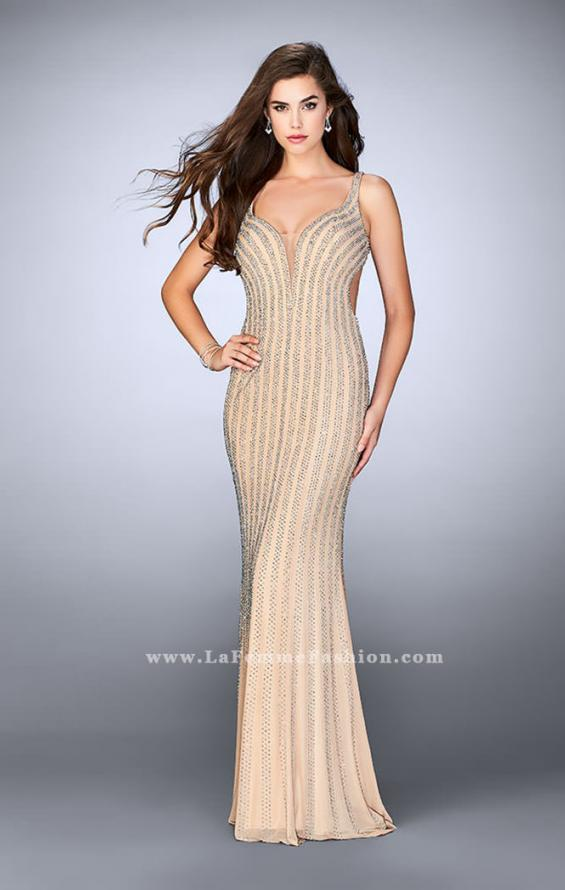 Picture of: Beaded Prom Dress With Deep V Neckline and Open Back, Style: 24057, Detail Picture 1