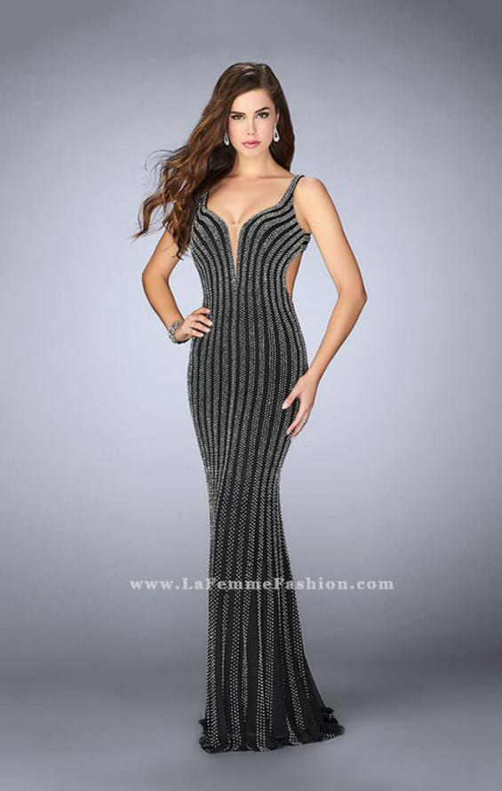 Picture of: Beaded Prom Dress With Deep V Neckline and Open Back, Style: 24057, Detail Picture 2