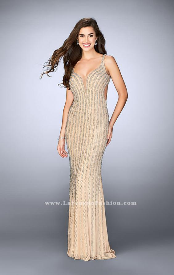 Picture of: Beaded Prom Dress With Deep V Neckline and Open Back, Style: 24057, Detail Picture 4