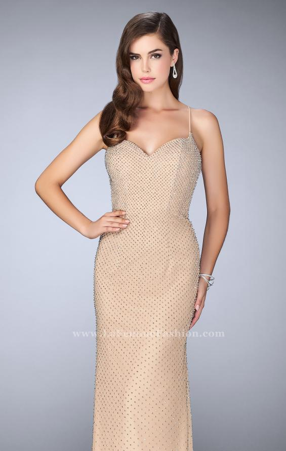 Picture of: Long Beaded Prom Dress with Sweetheart Neckline in Nude, Style: 24062, Main Picture
