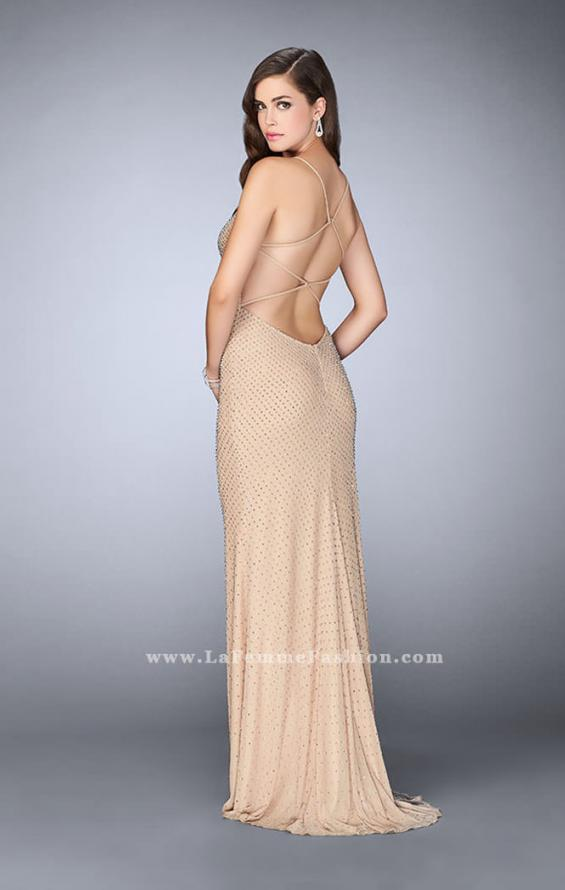 Picture of: Long Beaded Prom Dress with Sweetheart Neckline in Nude, Style: 24062, Back Picture