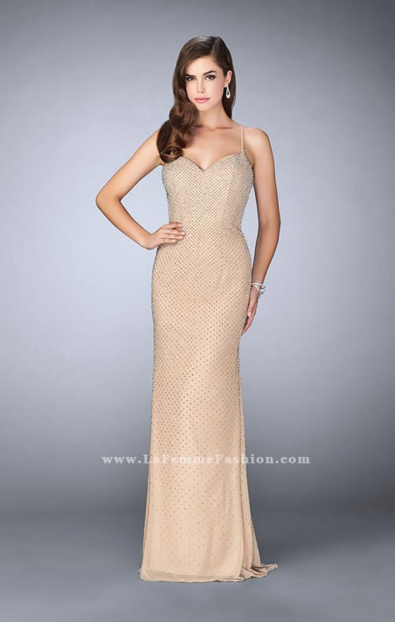 Picture of: Long Beaded Prom Dress with Sweetheart Neckline in Nude, Style: 24062, Detail Picture 1