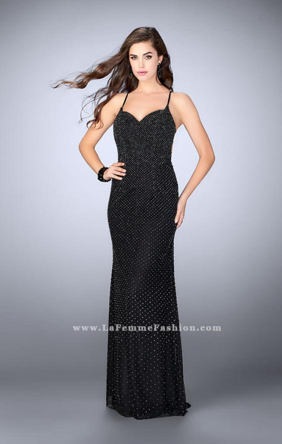 Picture of: Long Beaded Prom Dress with Sweetheart Neckline in Black, Style: 24062, Detail Picture 2