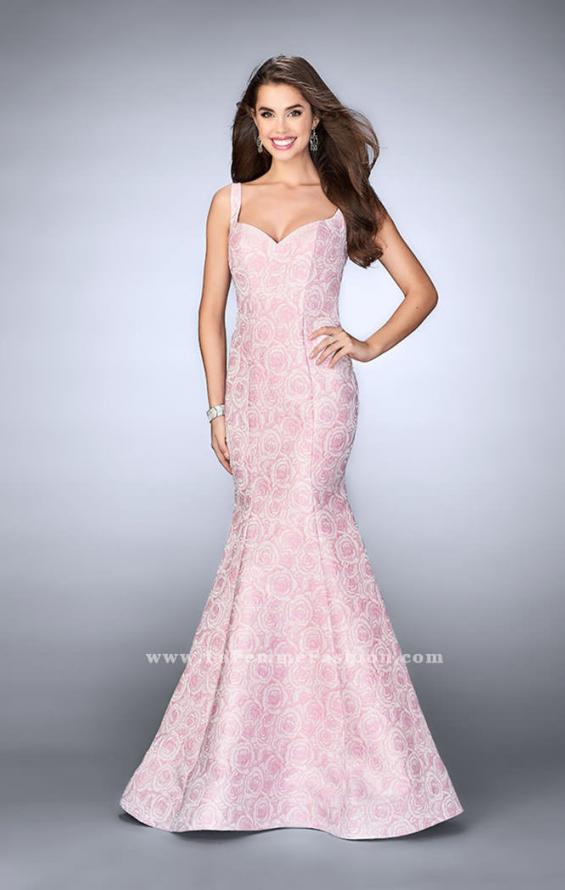 Picture of: Rose Printed Prom Dress with Mermaid Skirt and Bow, Style: 24063, Main Picture