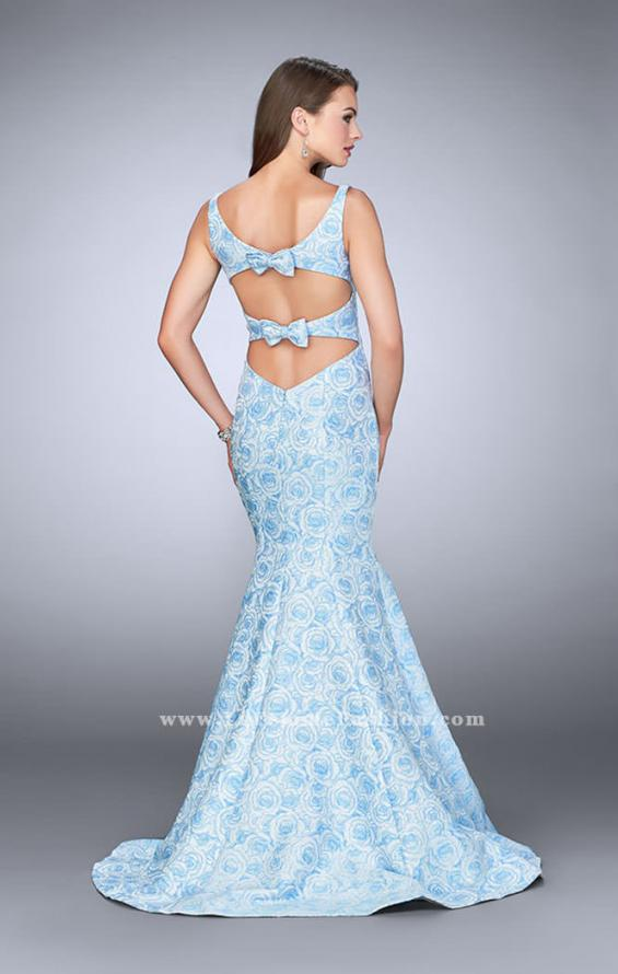 Picture of: Rose Printed Prom Dress with Mermaid Skirt and Bow, Style: 24063, Back Picture