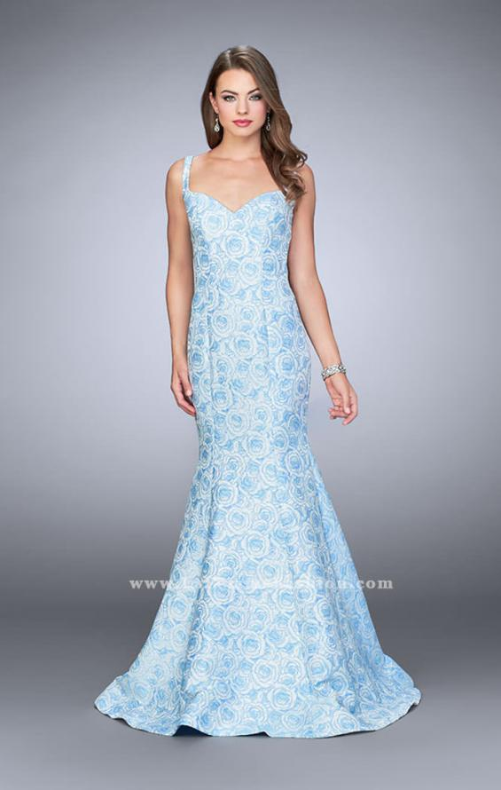 Picture of: Rose Printed Prom Dress with Mermaid Skirt and Bow, Style: 24063, Detail Picture 1