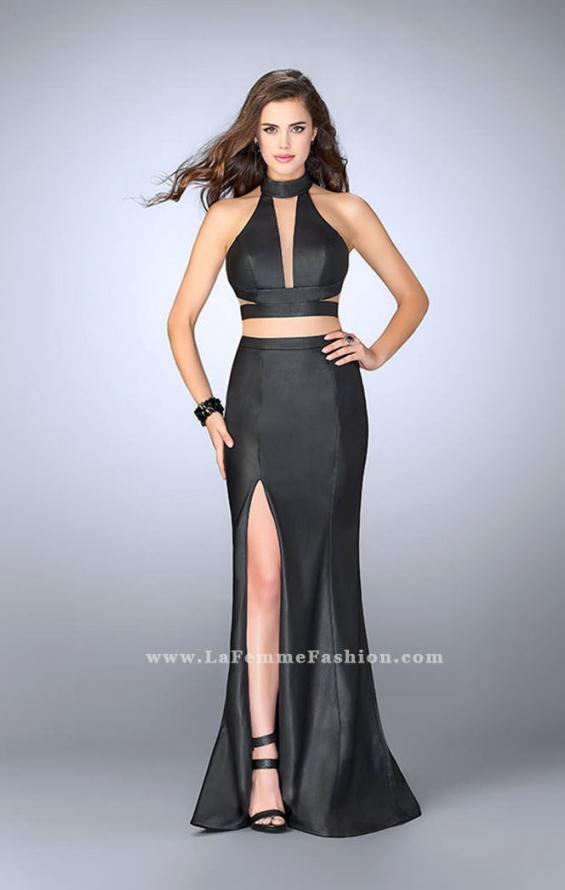 Picture of: Vegan Leather Two Piece Dress with High Neckline, Style: 24075, Main Picture