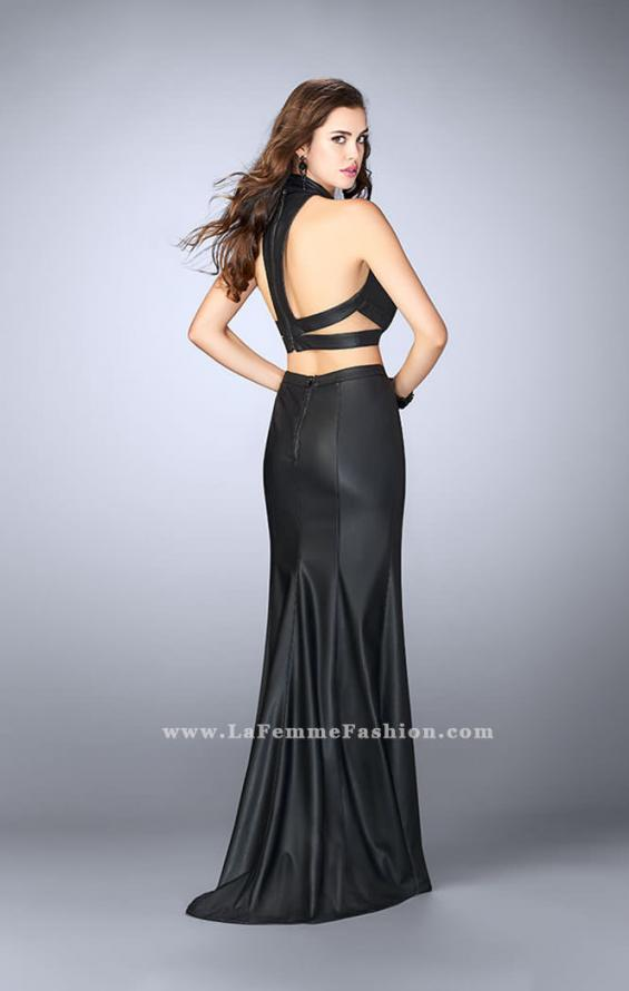 Picture of: Vegan Leather Two Piece Dress with High Neckline, Style: 24075, Back Picture