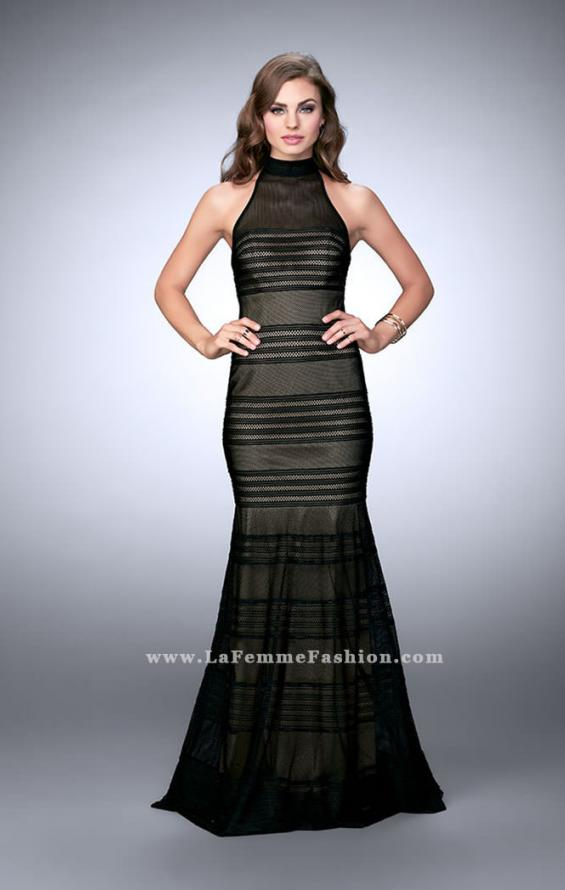 Picture of: Striped Fishnet Prom Dress with Keyhole in Black, Style: 24076, Main Picture