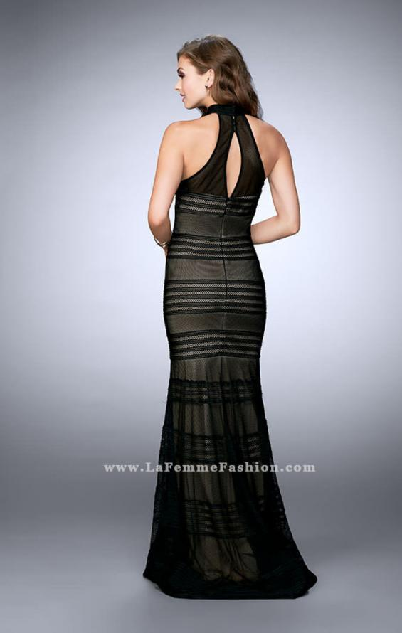 Picture of: Striped Fishnet Prom Dress with Keyhole in Black, Style: 24076, Back Picture