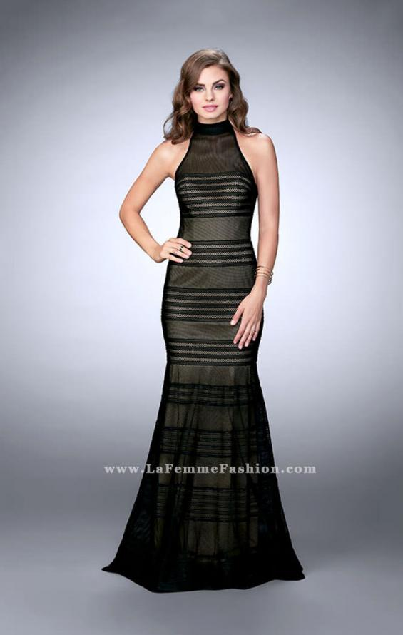 Picture of: Striped Fishnet Prom Dress with Keyhole in Black, Style: 24076, Detail Picture 1