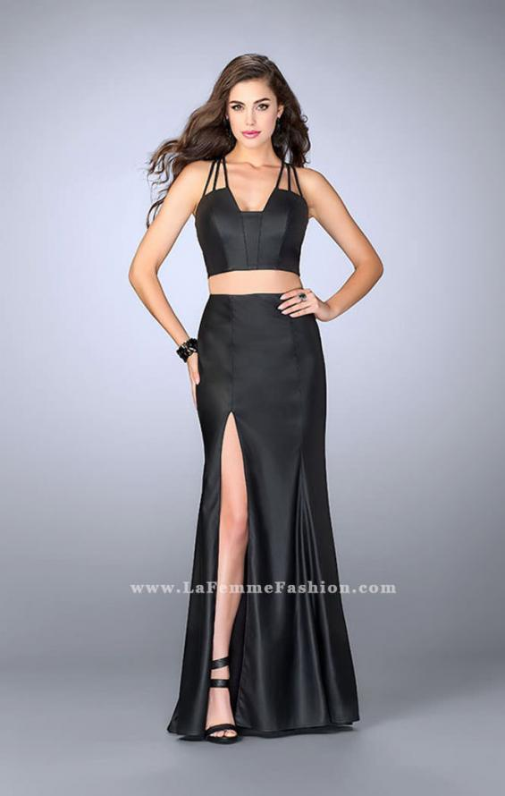 Picture of: Long Vegan Leather Two Piece Connecting Prom Dress in Black, Style: 24080, Main Picture