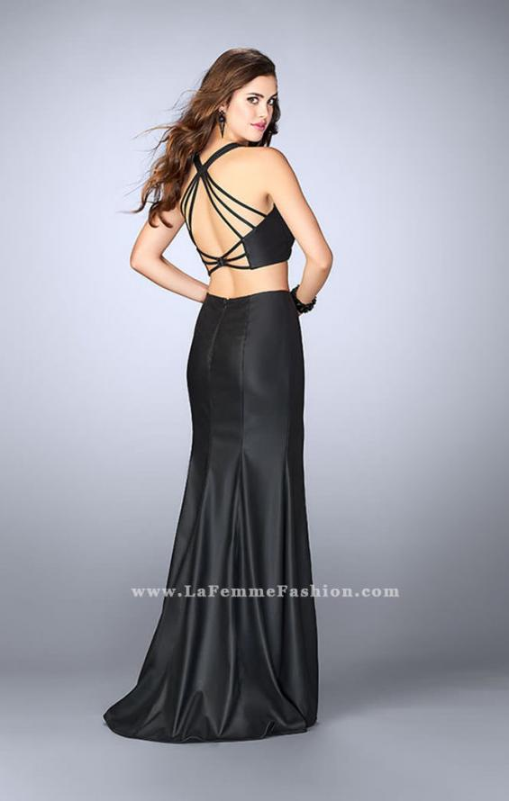 Picture of: Long Vegan Leather Two Piece Connecting Prom Dress in Black, Style: 24080, Back Picture