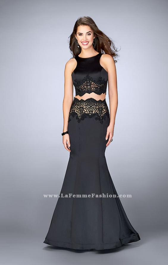 Picture of: Long Satin Two Piece Gown with Beaded Lace in Black, Style: 24083, Main Picture