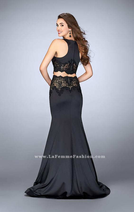Picture of: Long Satin Two Piece Gown with Beaded Lace in Black, Style: 24083, Back Picture