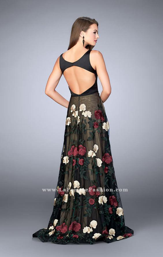 Picture of: Floral A-line Prom Dress With Satin Top and Lace Skirt in Print, Style: 24099, Back Picture