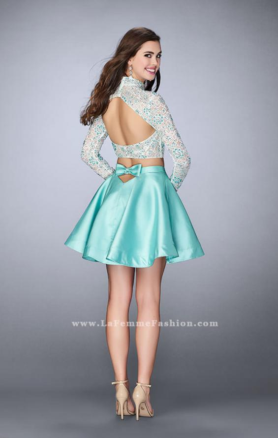 Picture of: Short Two Piece Dress with Long Sleeve Lace Top, Style: 24107, Back Picture