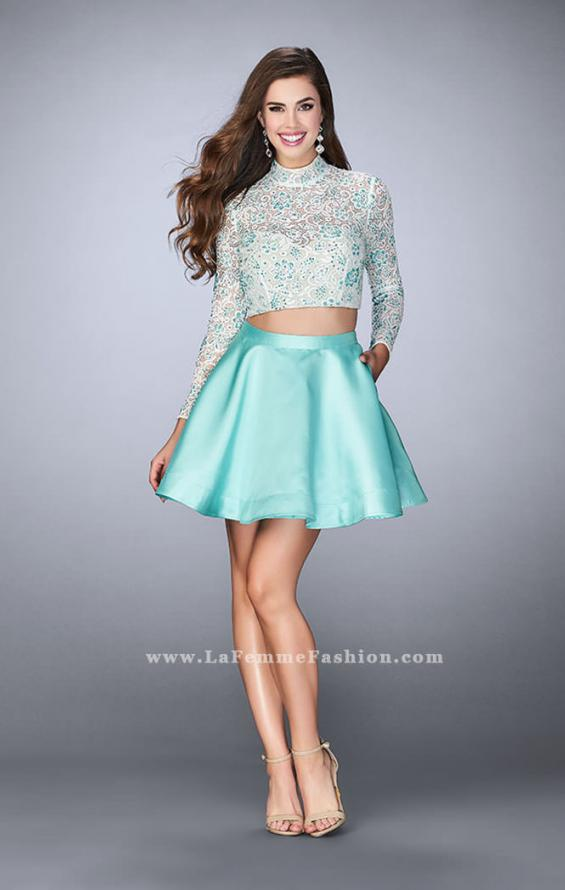 Picture of: Short Two Piece Dress with Long Sleeve Lace Top, Style: 24107, Detail Picture 1