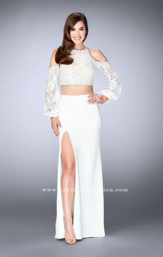 Picture of: Could Shoulder Long Sleeve Two Piece Prom Dress in White, Style: 24116, Main Picture