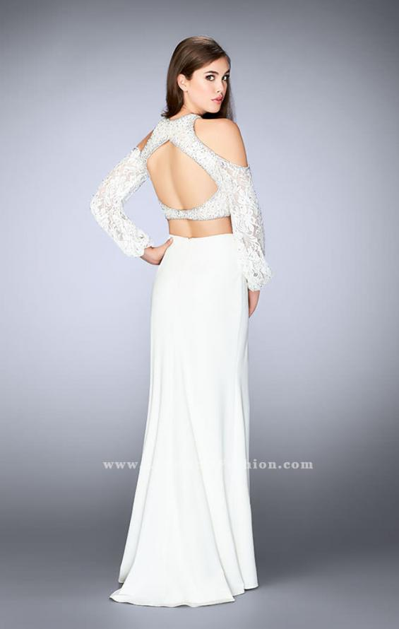 Picture of: Could Shoulder Long Sleeve Two Piece Prom Dress in White, Style: 24116, Back Picture