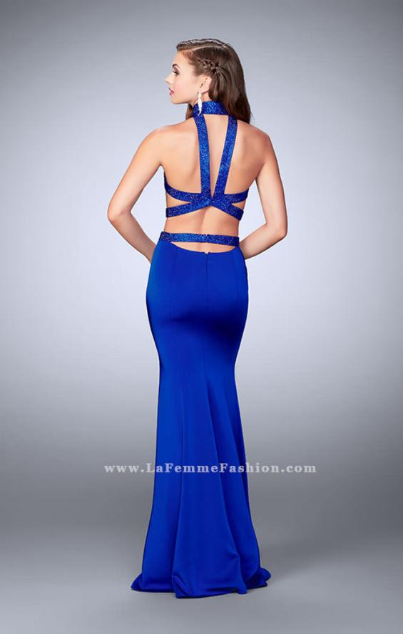 Picture of: Beaded Collar Long Prom Dress with Cut Outs in Blue, Style: 24119, Back Picture