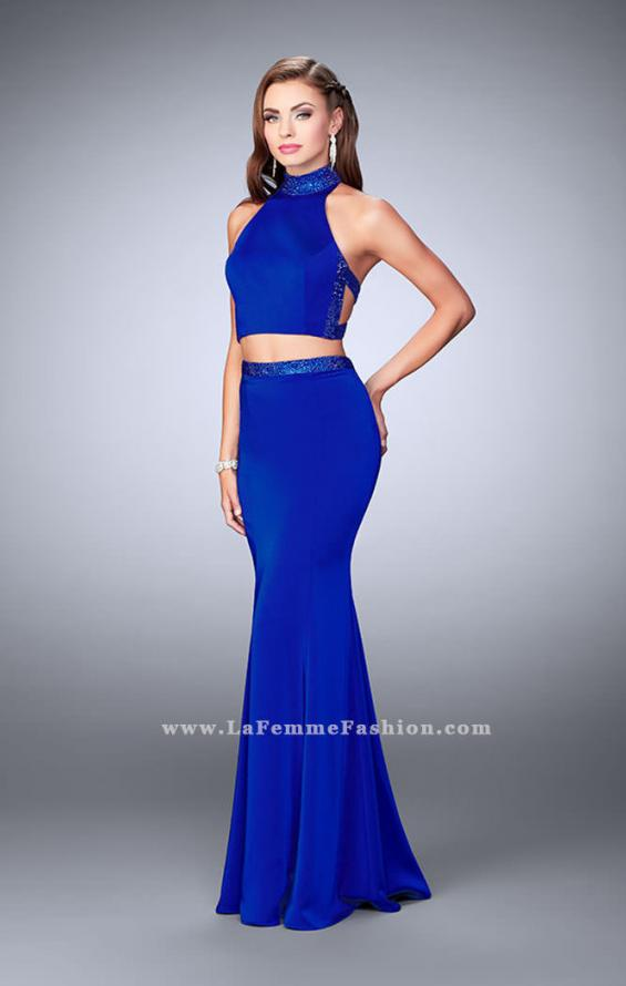 Picture of: Beaded Collar Long Prom Dress with Cut Outs in Blue, Style: 24119, Detail Picture 1