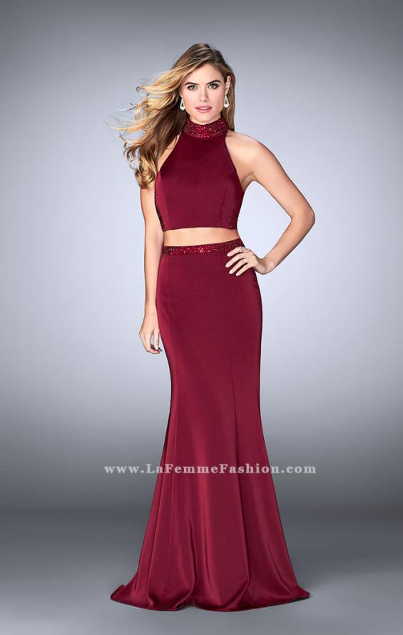 Picture of: Beaded Collar Long Prom Dress with Cut Outs in Red, Style: 24119, Detail Picture 2