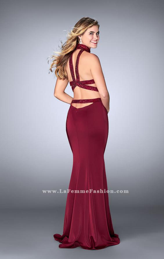 Picture of: Beaded Collar Long Prom Dress with Cut Outs in Red, Style: 24119, Detail Picture 3