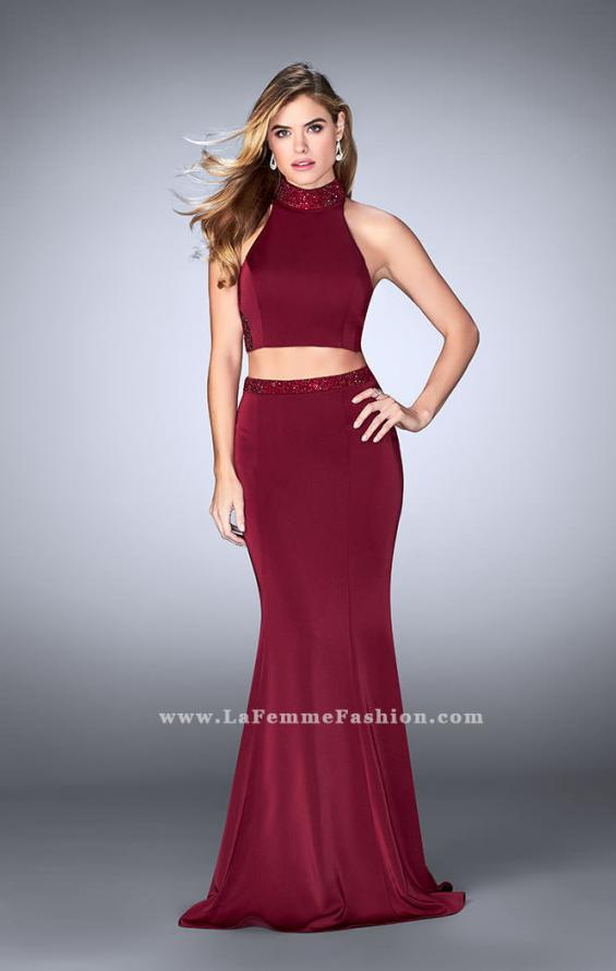 Picture of: Beaded Collar Long Prom Dress with Cut Outs in Red, Style: 24119, Detail Picture 4