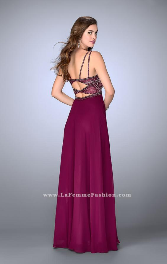 Picture of: Chiffon A-line Dress with Beaded Top and Cutout Back, Style: 24121, Back Picture
